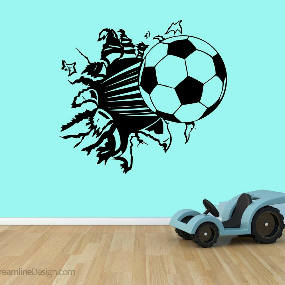 Football Bursting Through Wall Vinyl Wall Art Bedroom