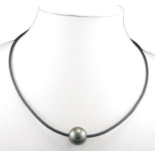 "Tahitian Pearl And Leather Necklace: 18"" 14-15MM Tahitian Black Pearl 2MM Leather Cord Necklace"