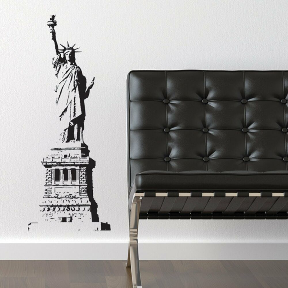 statue of liberty new york city vinyl wall accent decal ebay. Black Bedroom Furniture Sets. Home Design Ideas