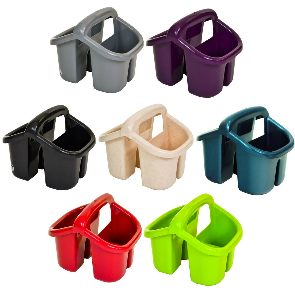 Plastic 4 Compartment Sink Tidy Cutlery Drainer Filter