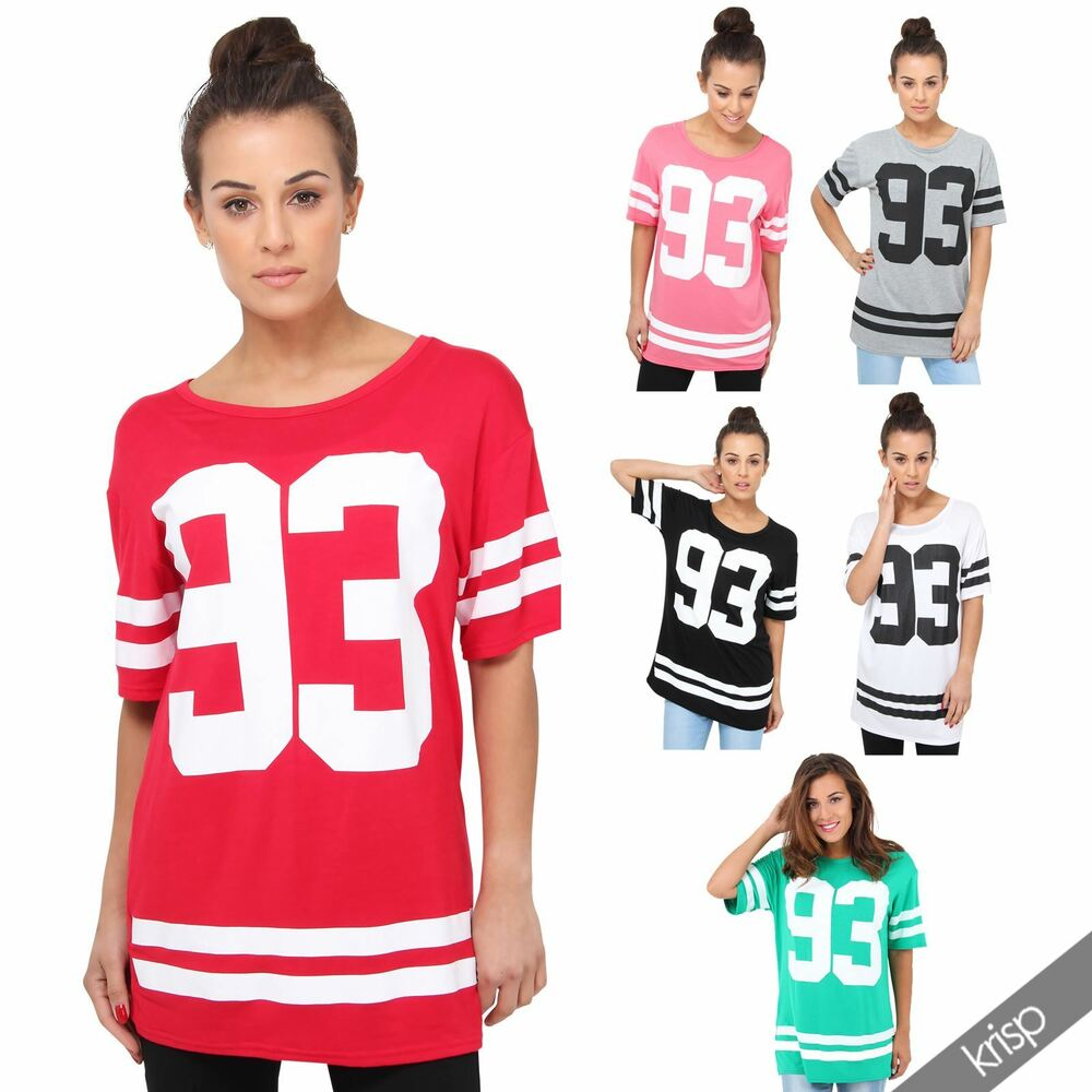 womens american college print long t shirt loose tunic top baseball ebay. Black Bedroom Furniture Sets. Home Design Ideas