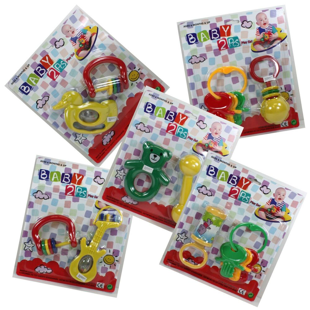 2pc lot assorted baby toys rattle crib toddler keys animals safe non toxic ebay. Black Bedroom Furniture Sets. Home Design Ideas