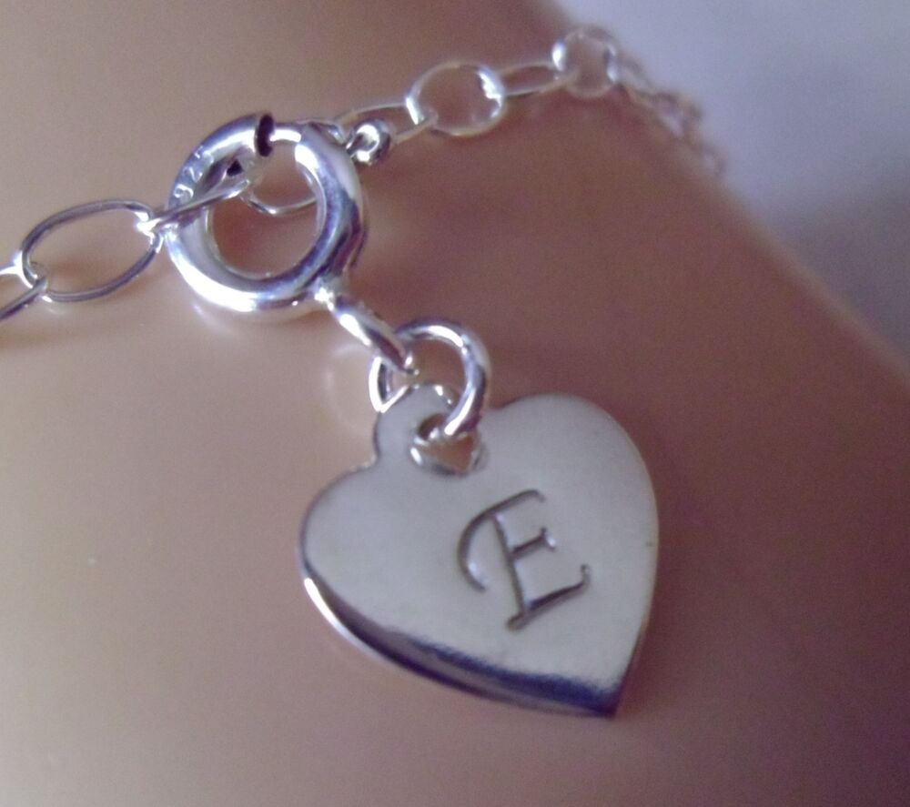 Sterling Silver Charms For Bracelets: A-Z Personalized Initial Monogram Heart Charm