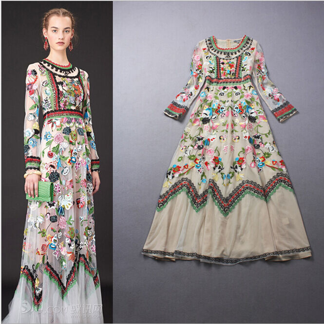 Hot New Fashion Womenu0026#39;s Long Sleeve Embroidered Flowers Vintage Tulle Long Dress | EBay