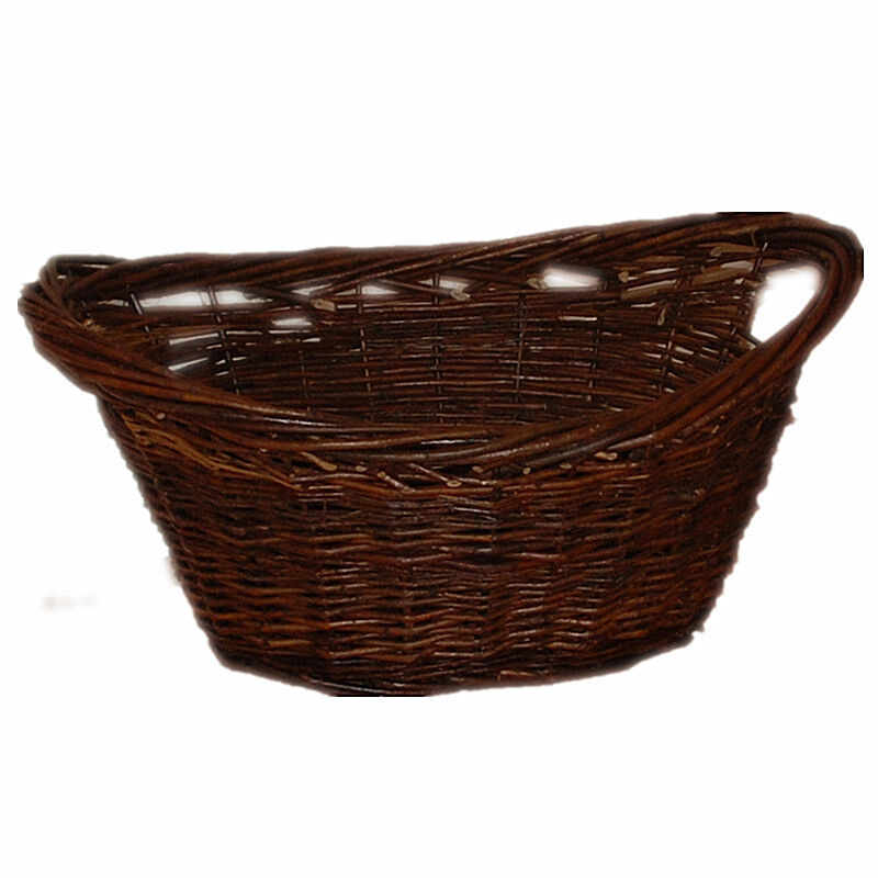 large wicker dark willow basket oval storage handle for log toy laundry 980 ebay. Black Bedroom Furniture Sets. Home Design Ideas