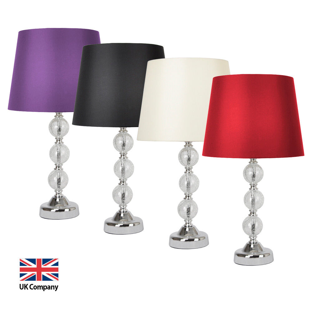 Chrome Amp Glass Ball Pebble Table Lamps Purple Black