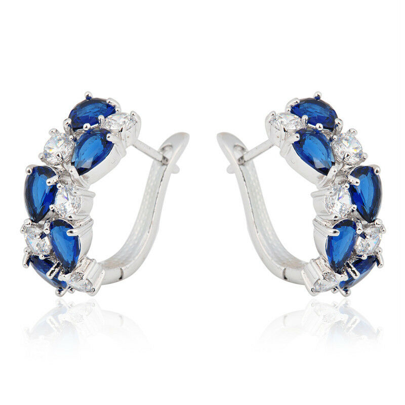 White/Blue Sapphire CZ Hoop Earrings Drop Dangle Women's ...