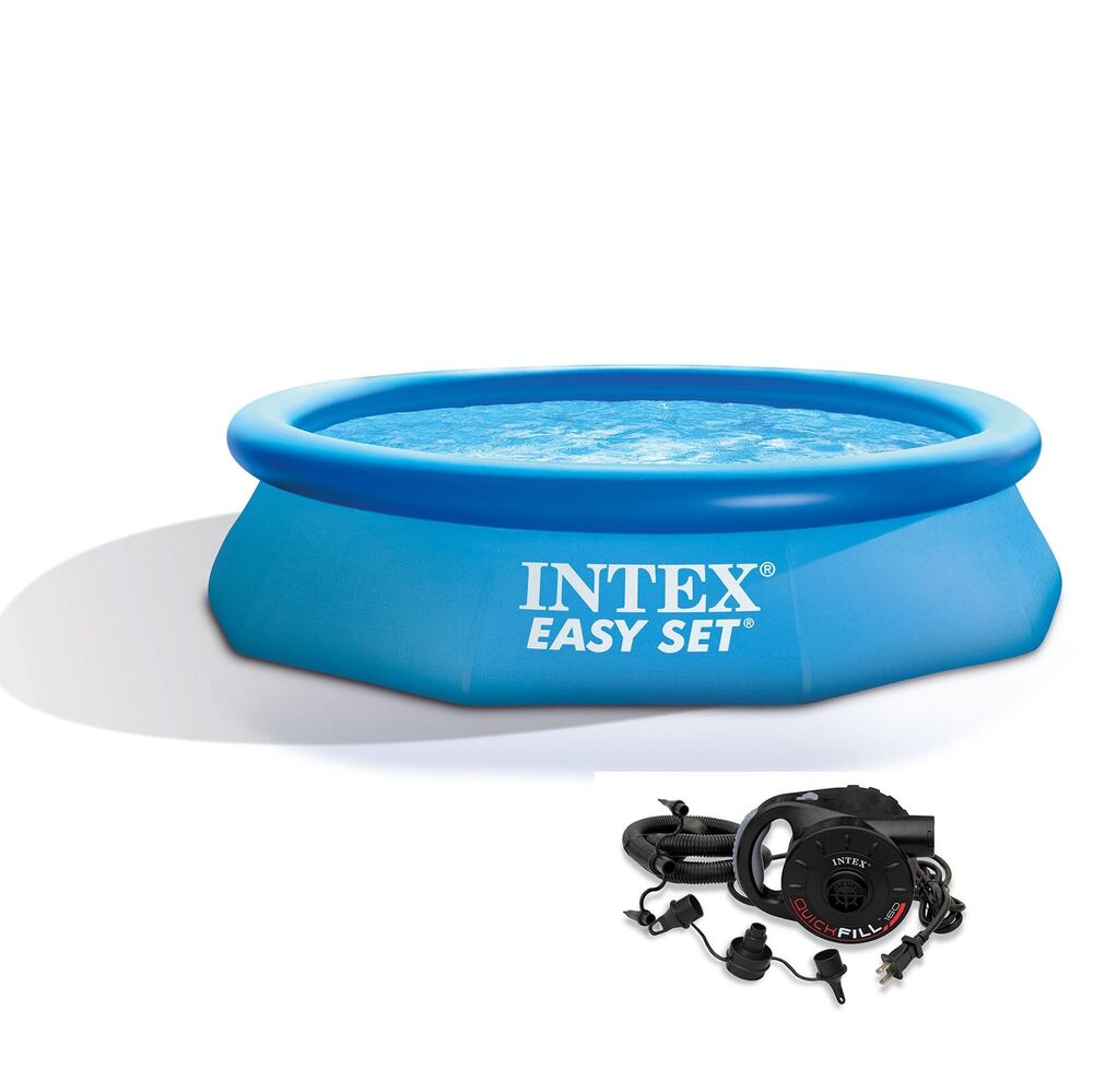 intex 10 39 x 30 easy set inflatable above ground swimming pool with air pump ebay. Black Bedroom Furniture Sets. Home Design Ideas