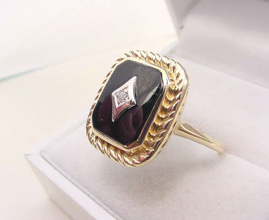Black Onyx Amp Diamond Vintage 10k Gold Ring Ebay