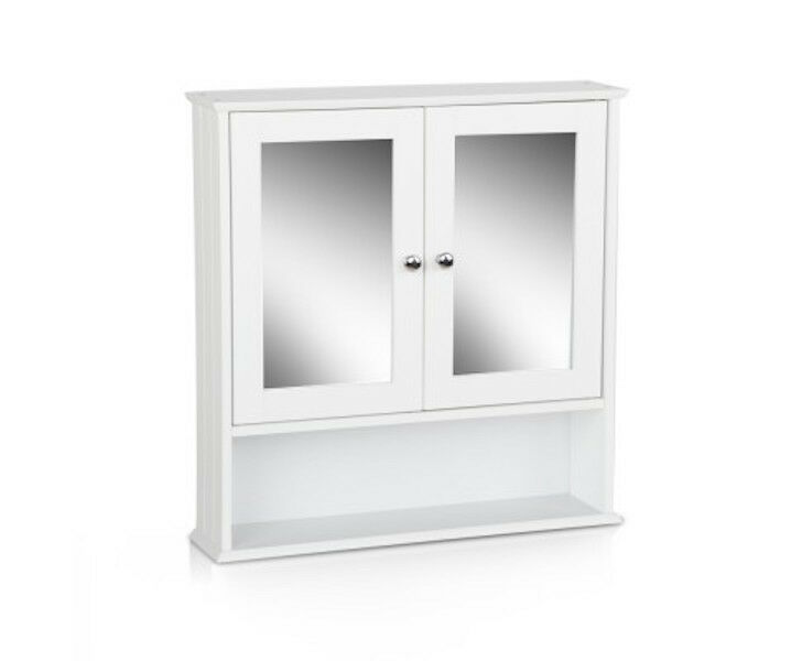 New white bathroom wall 2 door cabinet storage shelf 50h x for Bathroom 2 door wall cabinet