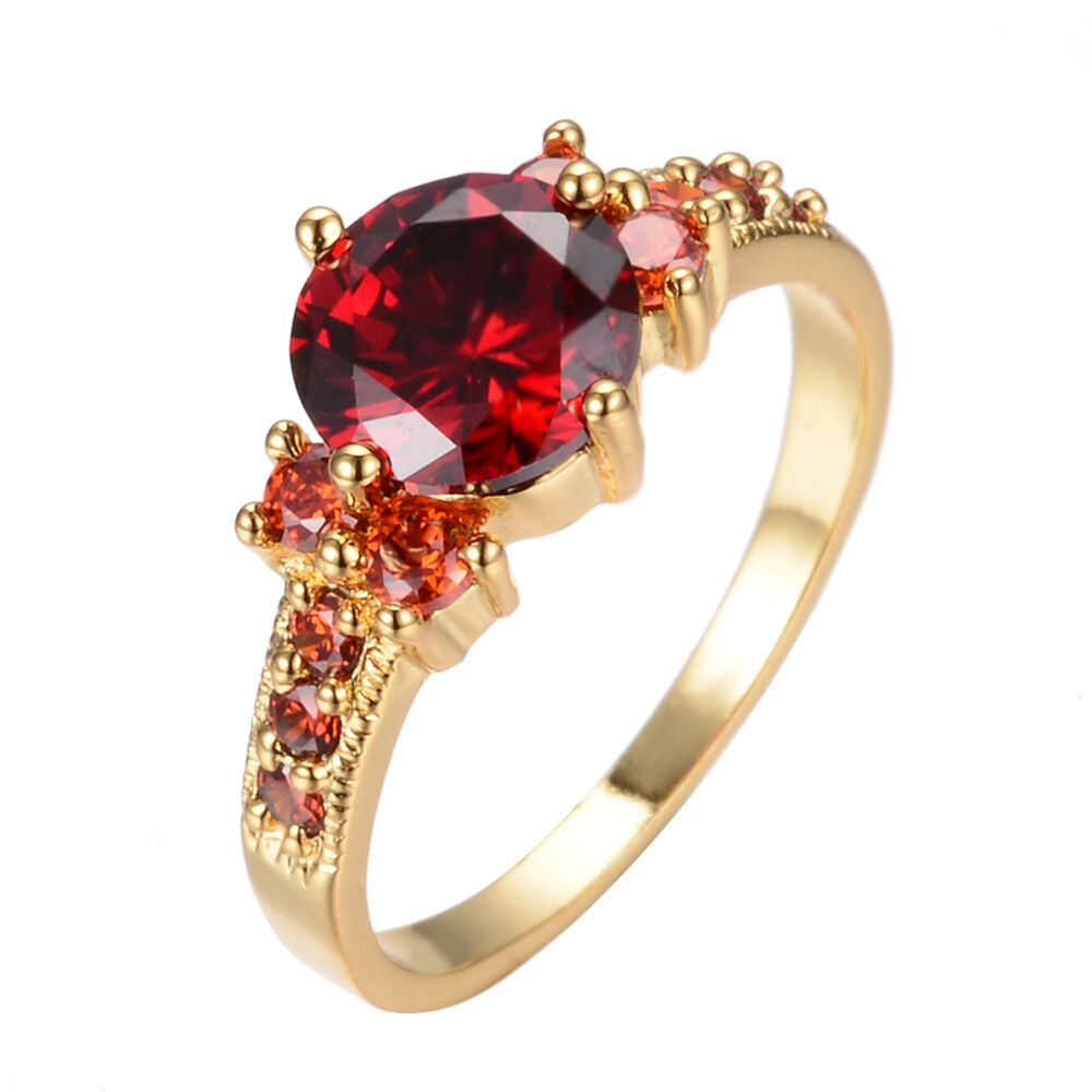 Garnet Ring Bands: 5.80/ct Red Ruby Garnet Wedding Ring 10KT Yellow Gold