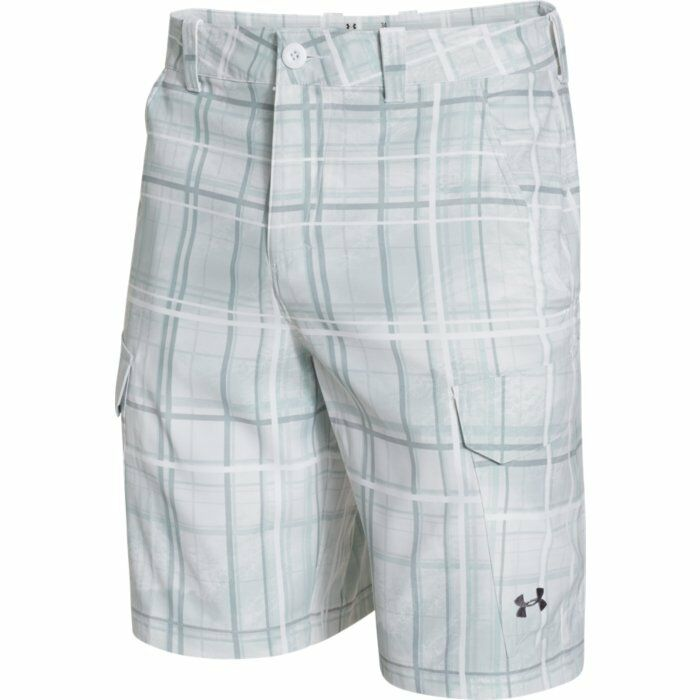 Under armour fish hunter cargo shorts white 1244207 102 for Under armour fishing shorts