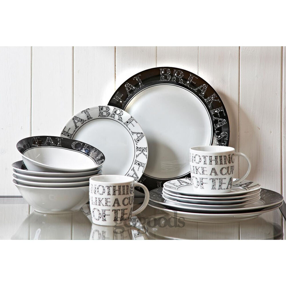 16 Piece Soho Porcelain Dining Serving Dinner Service Set