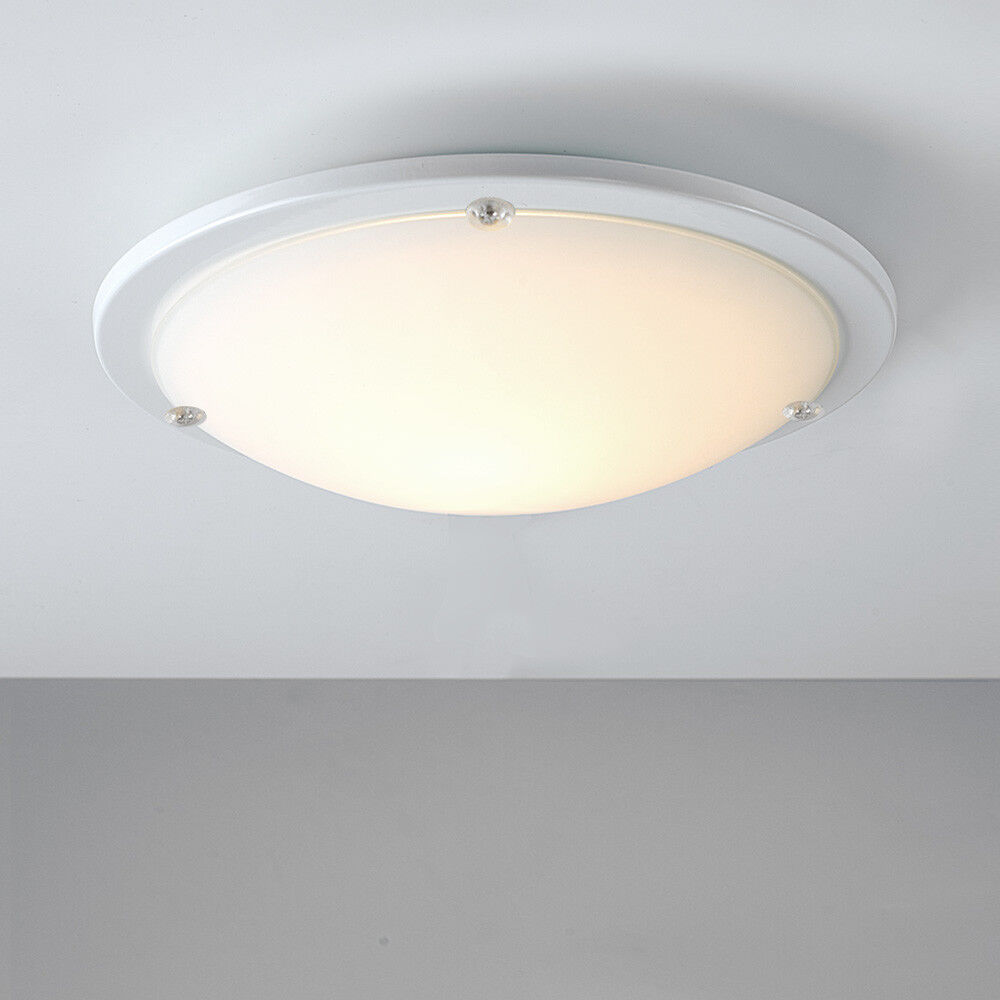 Modern White Frosted Glass Round Flush Bathroom Ceiling