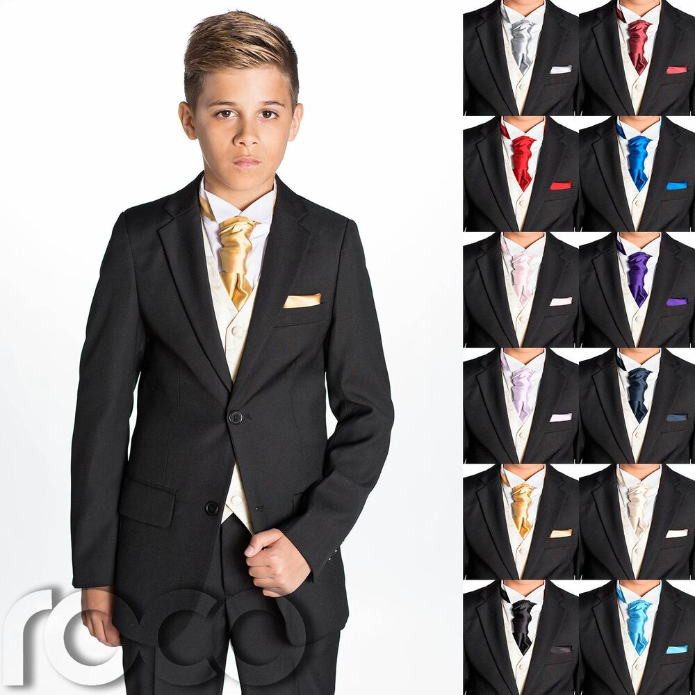 Wedding Suits: Boys Black Suit, Boys Cravat & Pocket Square, Page Boy