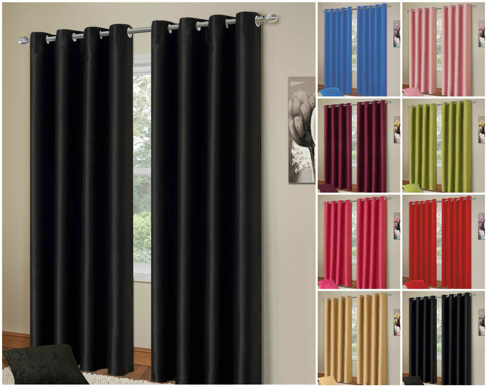 ... Thermal Blackout Curtain Pair Energy Saving Eyelet Ready made Curtains