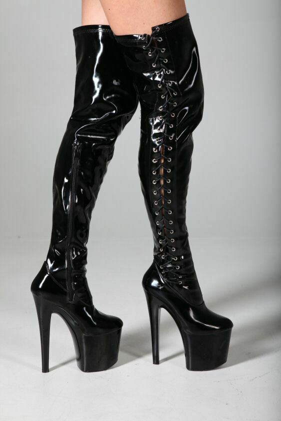 mega extrem plateau high heels overknee stiefel schwarz 37 absatz 20cm lack ebay. Black Bedroom Furniture Sets. Home Design Ideas