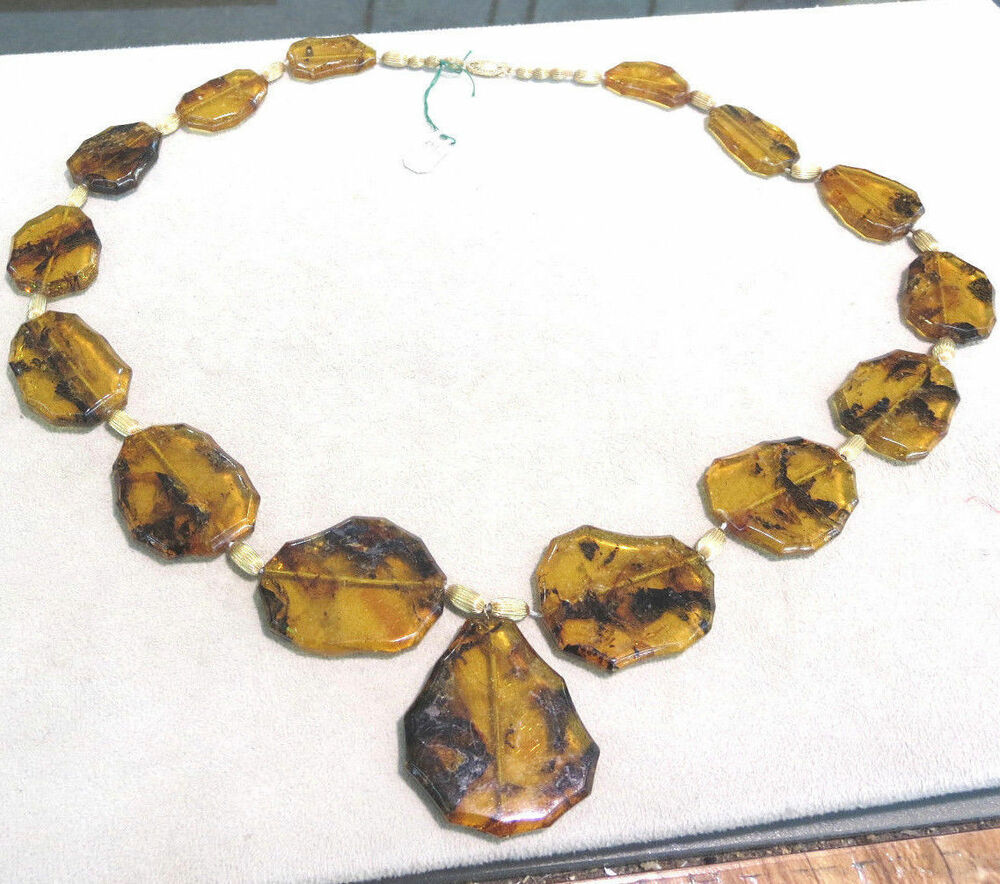 15FLAT NATURAL STONE AMBER TREE RESIN PENDANT NECKLACE 14k ...