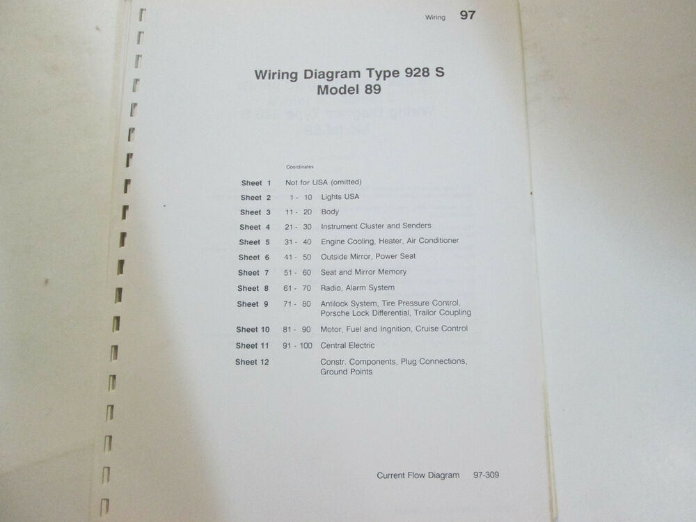details about porsche 928s model 89 wiring diagrams manual factory oem book  loose leaf format