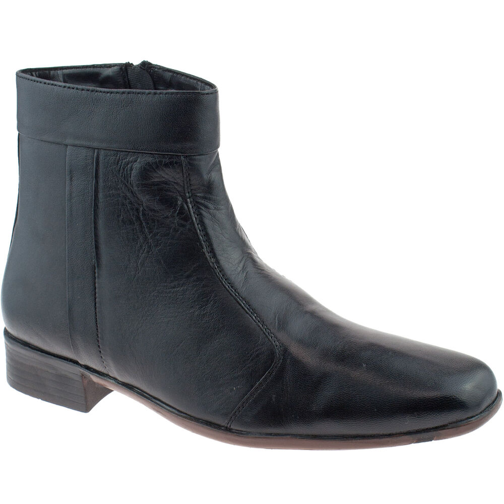 mens soft leather ankle zip up boots size uk 6 12 black