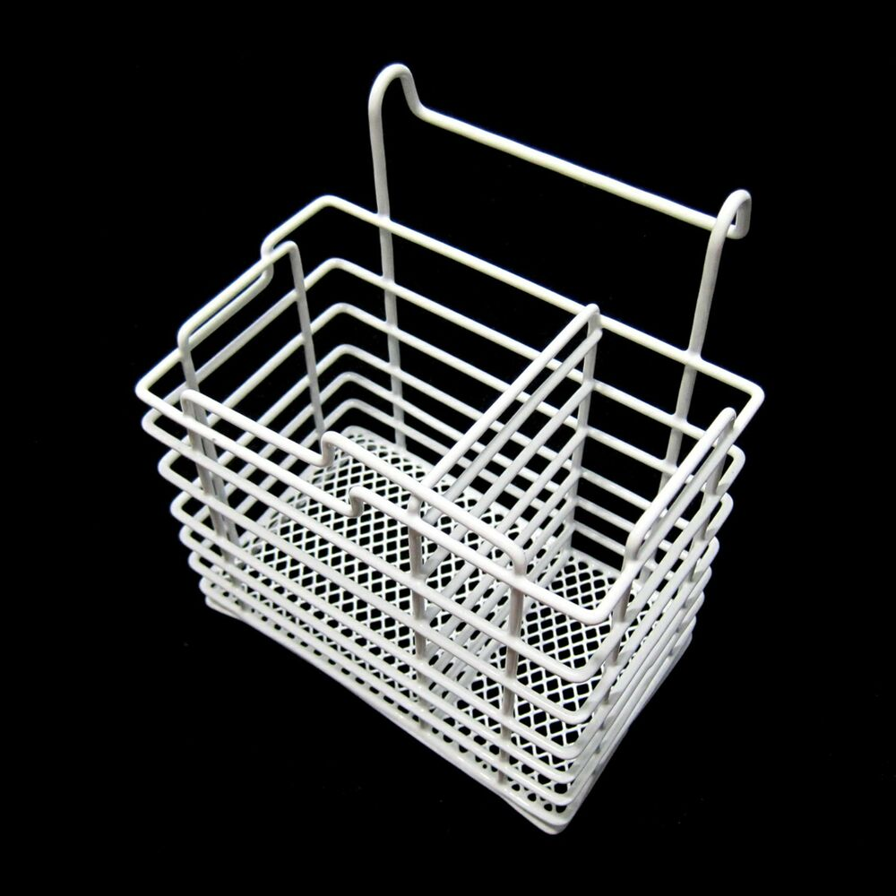 new pe coated steel wire cutlery hook basket spoon stand flatware storage white ebay. Black Bedroom Furniture Sets. Home Design Ideas
