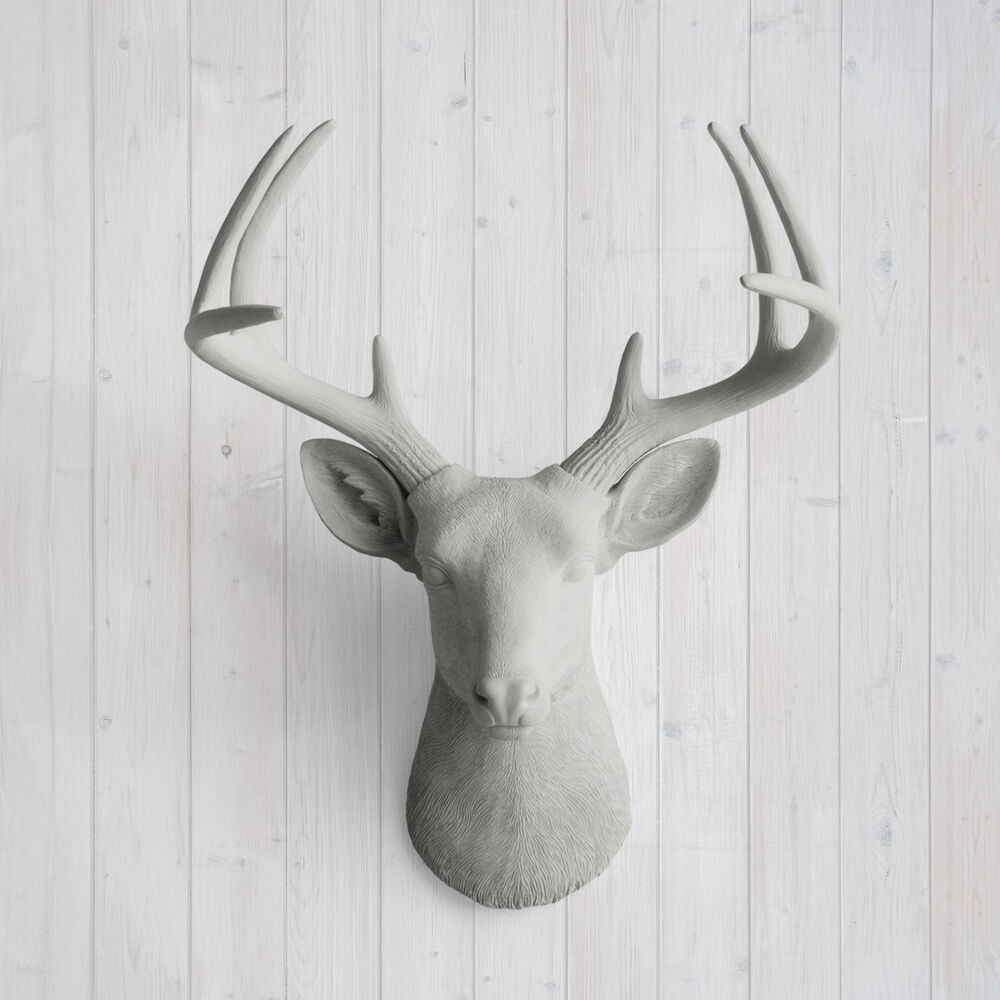 wall charmers deer in gray faux head fake animal ceramic taxidermy