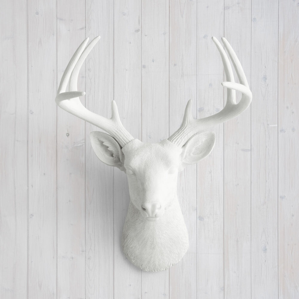 wall charmers deer in white faux head fake animal ceramic resin