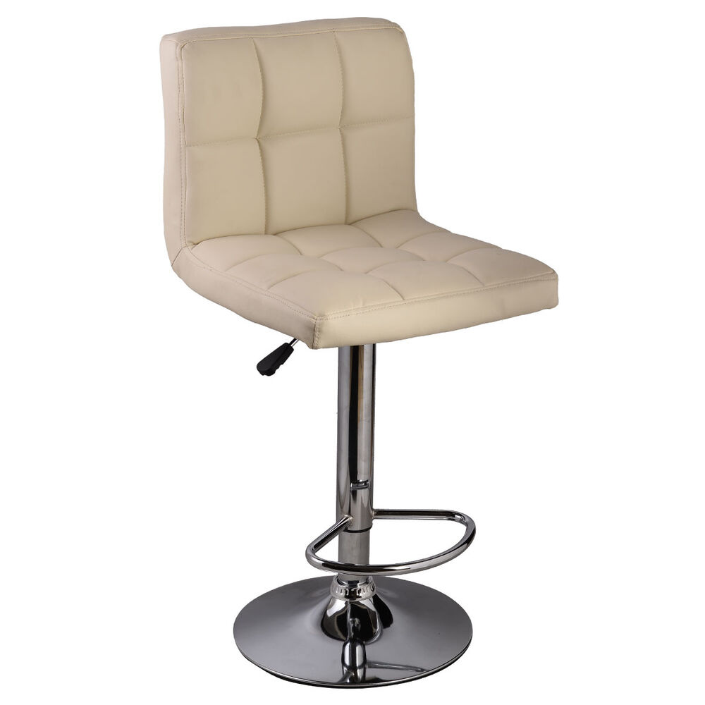 1pc Off White Bar Stool Pu Leather Barstools Chair