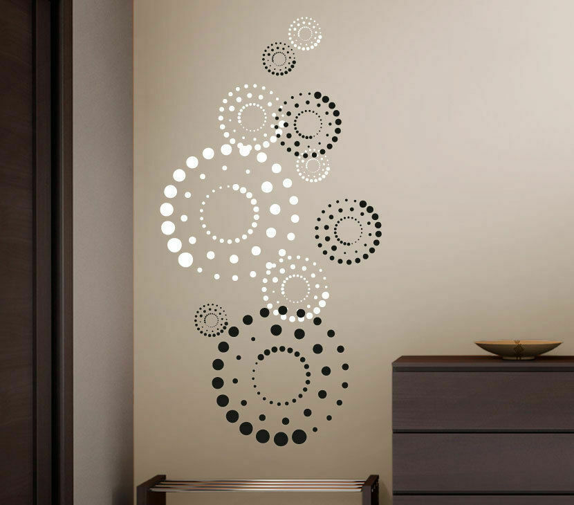 wandtattoo wandsticker wandaufkleber 2 farbig kreise circles punkte dots w3205 ebay. Black Bedroom Furniture Sets. Home Design Ideas
