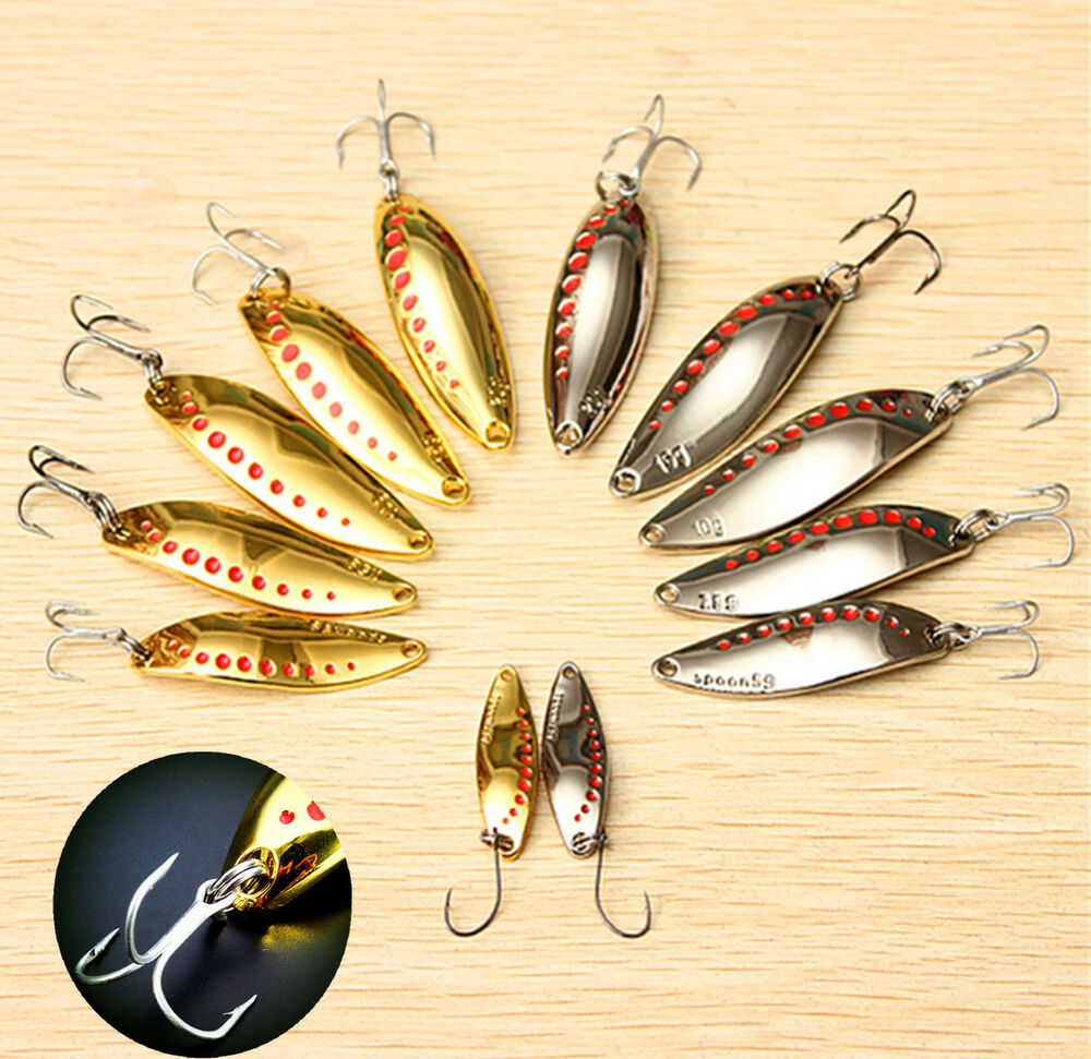 Metal fishing lures spoons hooks spinner crank bait bass for Spinner fishing lures