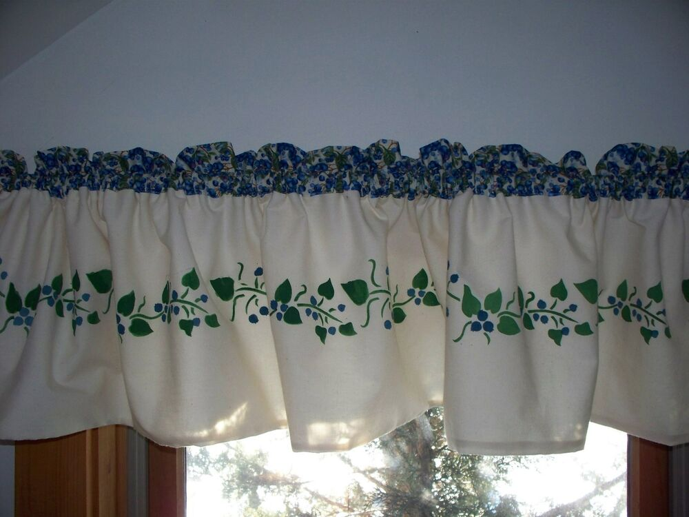 Maine Made Hand Stenciled Blueberry Fruit Kitchen Decor Country Curtain Valance Ebay