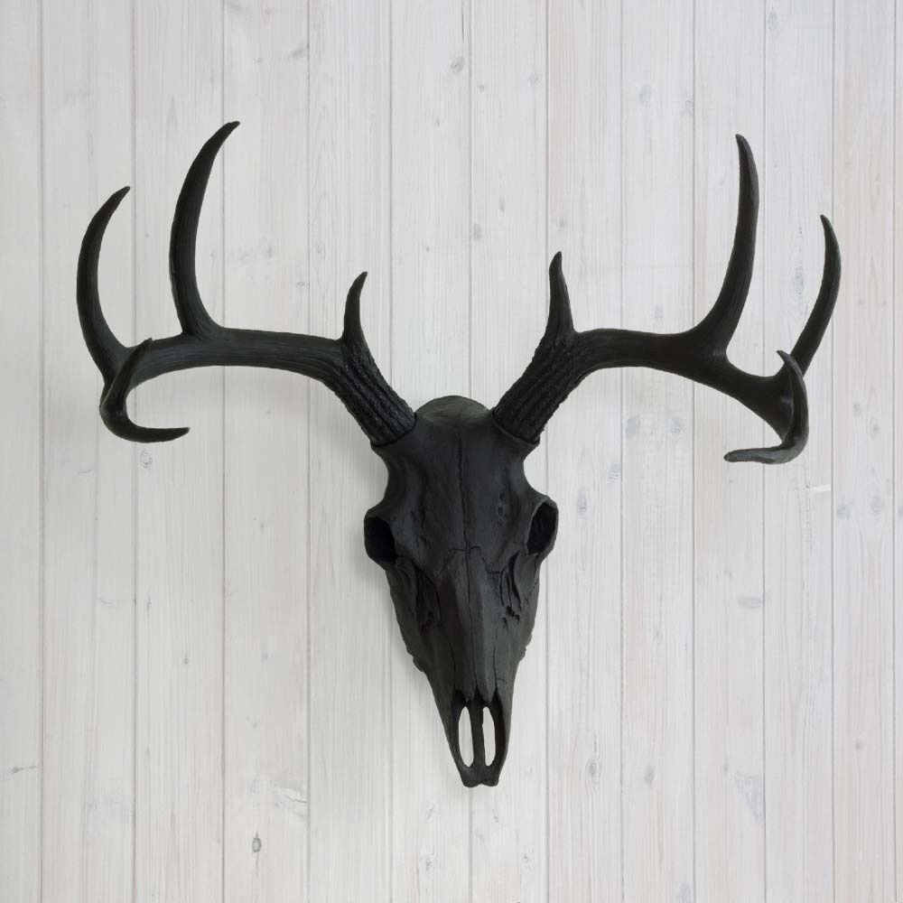 Wall Charmers Deer Skull Black Faux Animal Head Fake