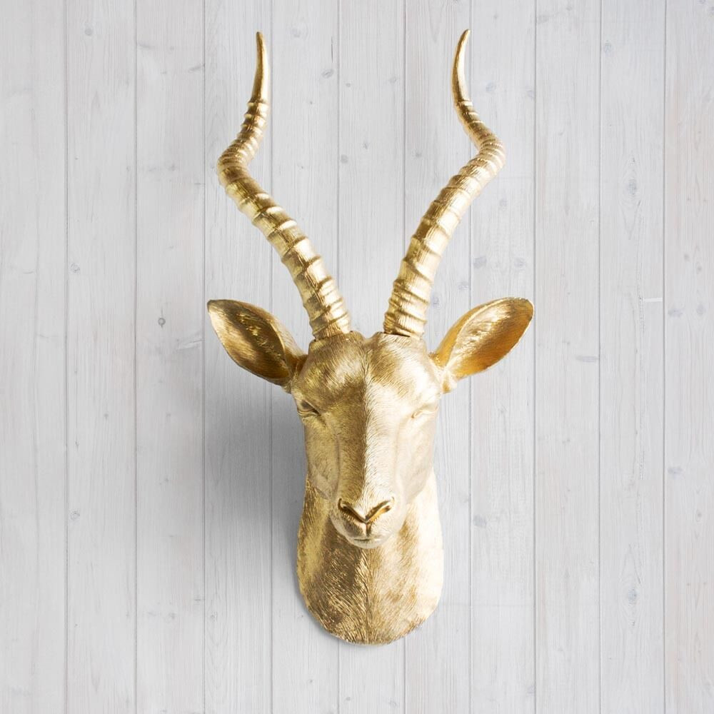 Wall Charmers Faux Gold Antelope Head Fake Animal African