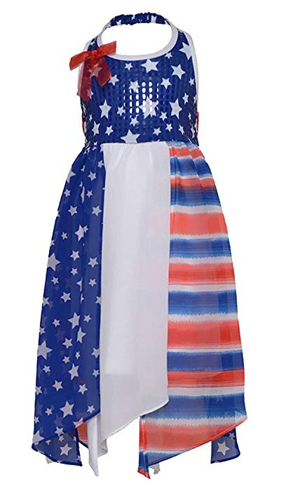Red white blue halter patriotic 4th of july dress size 5 new ebay