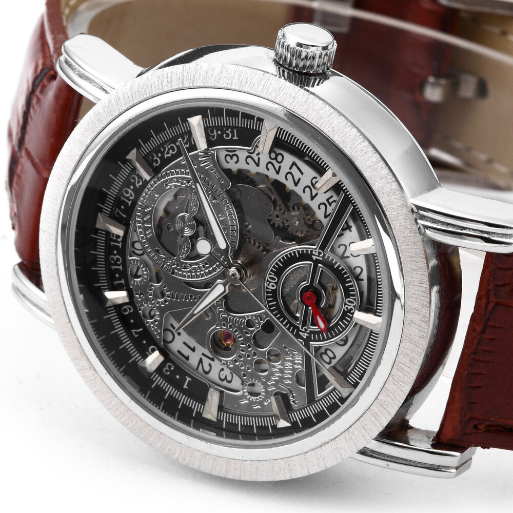 Classic mens skeleton dial automatic mechanical date retro brown leather watch ebay for Classic skeleton watch
