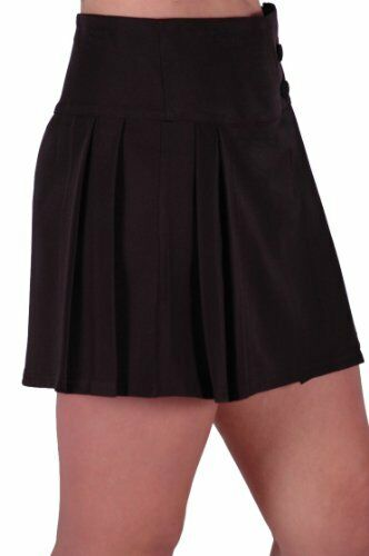 womens high waist casual pleated flared swing work office