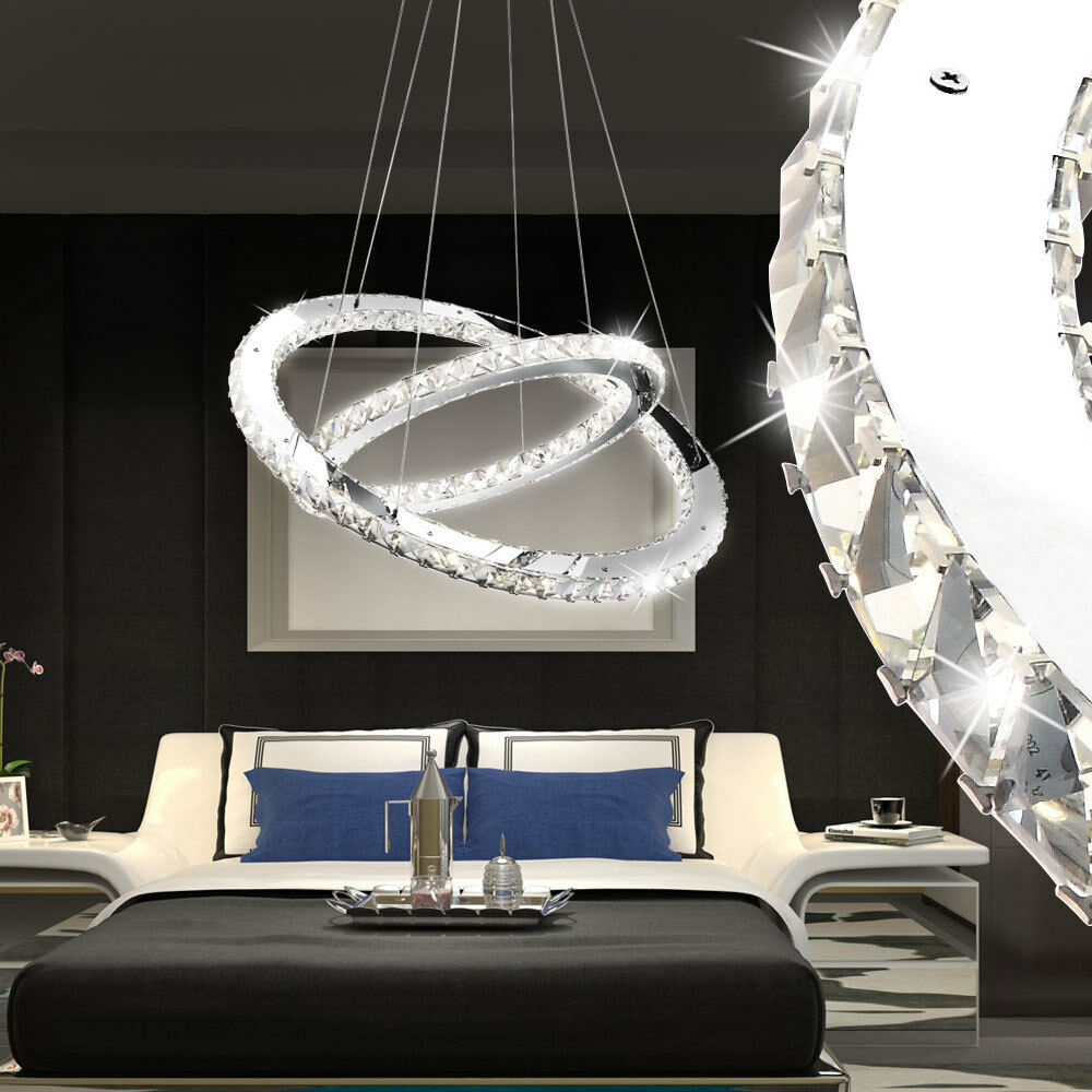 24w led pendel h nge lampe flur kristall decken leuchte ring kronleuchter l ster ebay. Black Bedroom Furniture Sets. Home Design Ideas