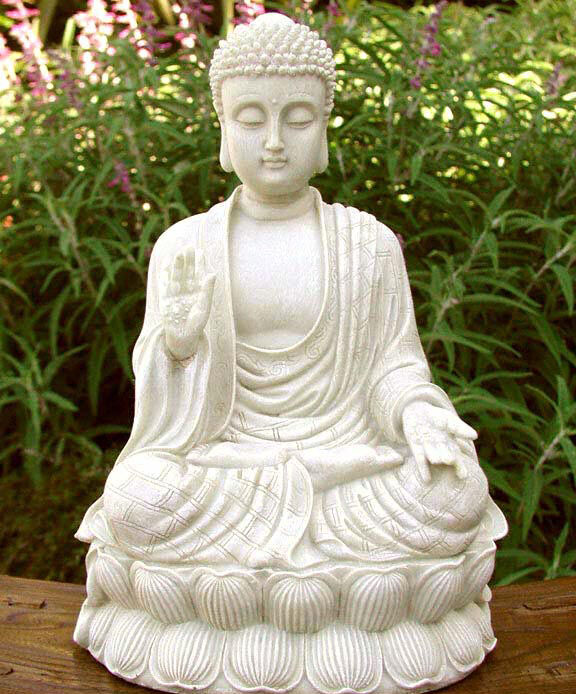 Sitting Shakyamuni Buddha White Stone Finish Large Garden