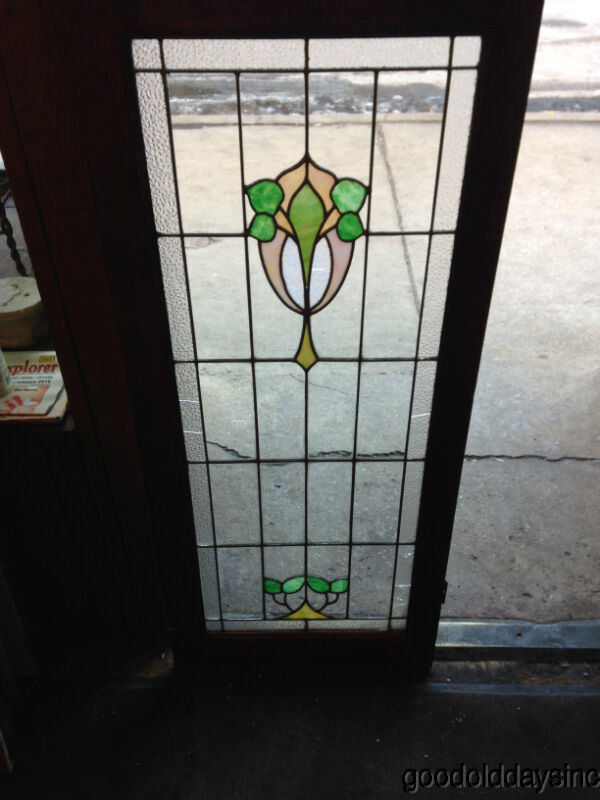 Antique Chicago Stained Leaded Glass Cabinet Door Window