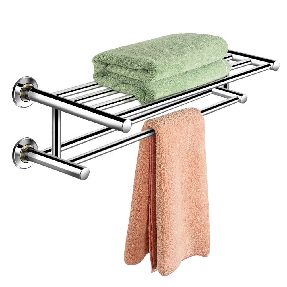 Wall mounted towel rack bathroom hotel rail holder storage - Bathroom shelves stainless steel ...