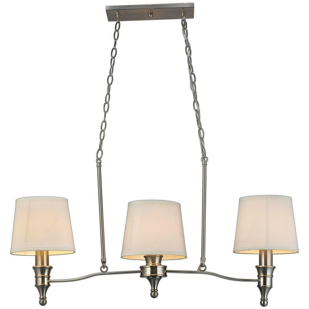 hampton bay towne 3 light brushed nickel island light fixture 523076. Black Bedroom Furniture Sets. Home Design Ideas