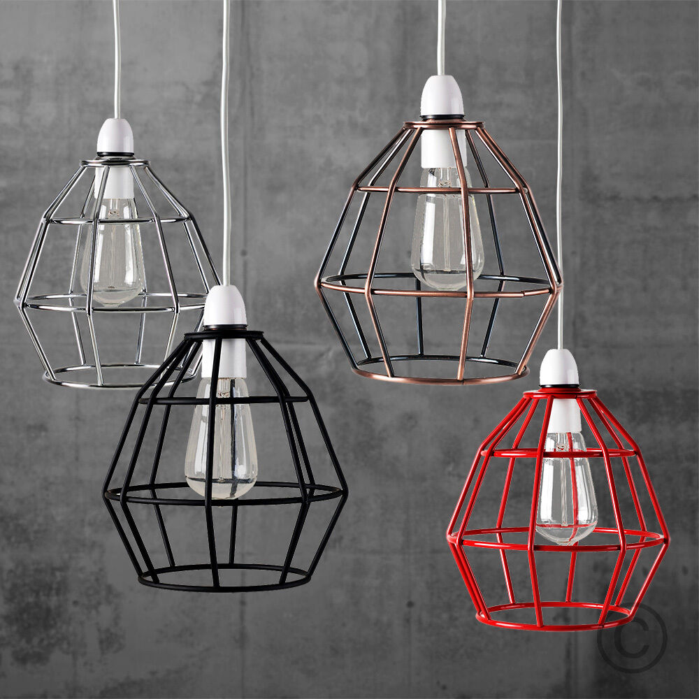 Vintage industrial style metal cage wire frame ceiling for Metal hanging lights