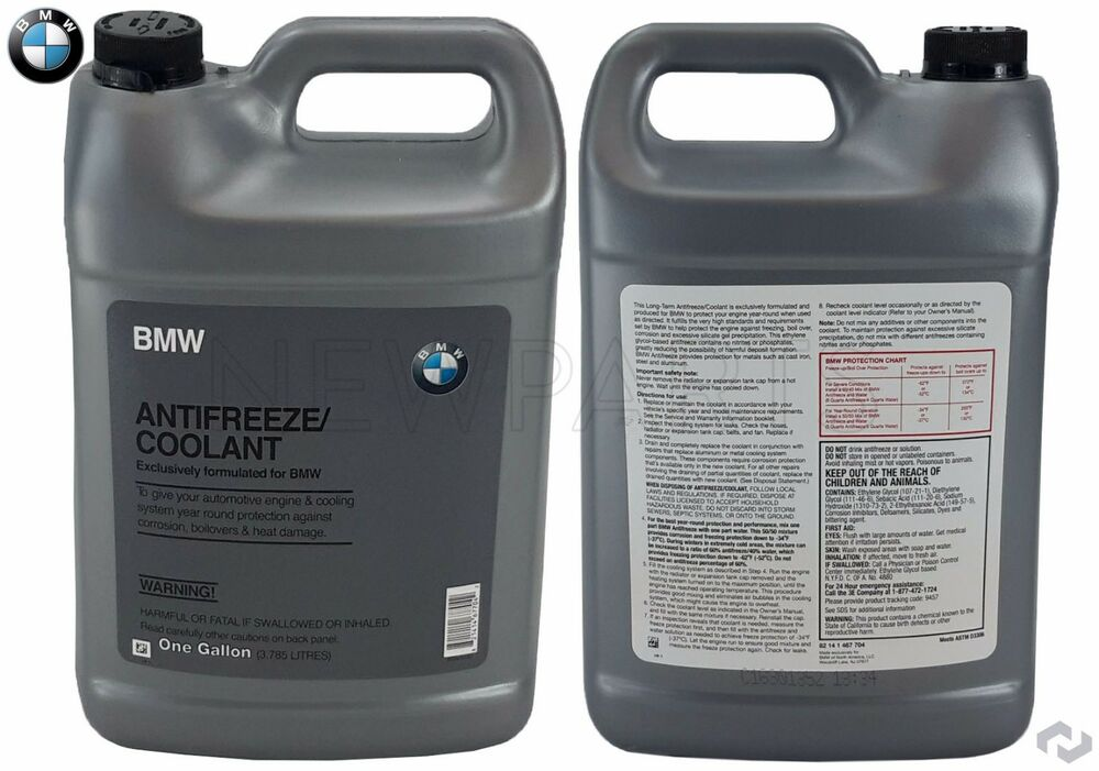 BMW Engine Coolant Antifreeze 2 Gallons Blue Color
