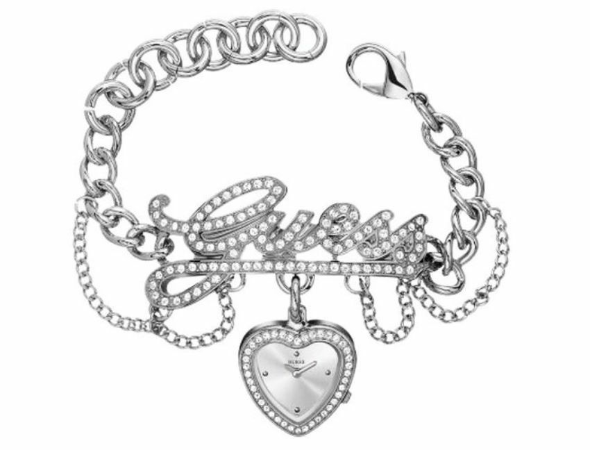 New guess silver tone crystal logo link bracelet heart dial watch