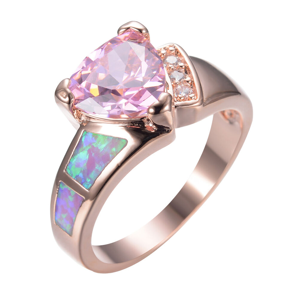 size 6 10 pink sapphire fire opal wedding ring women 39 s. Black Bedroom Furniture Sets. Home Design Ideas