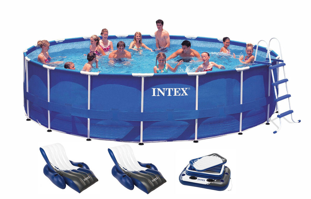 Intex 18 X 48 Quot Metal Frame Swimming Pool Deluxe Set W