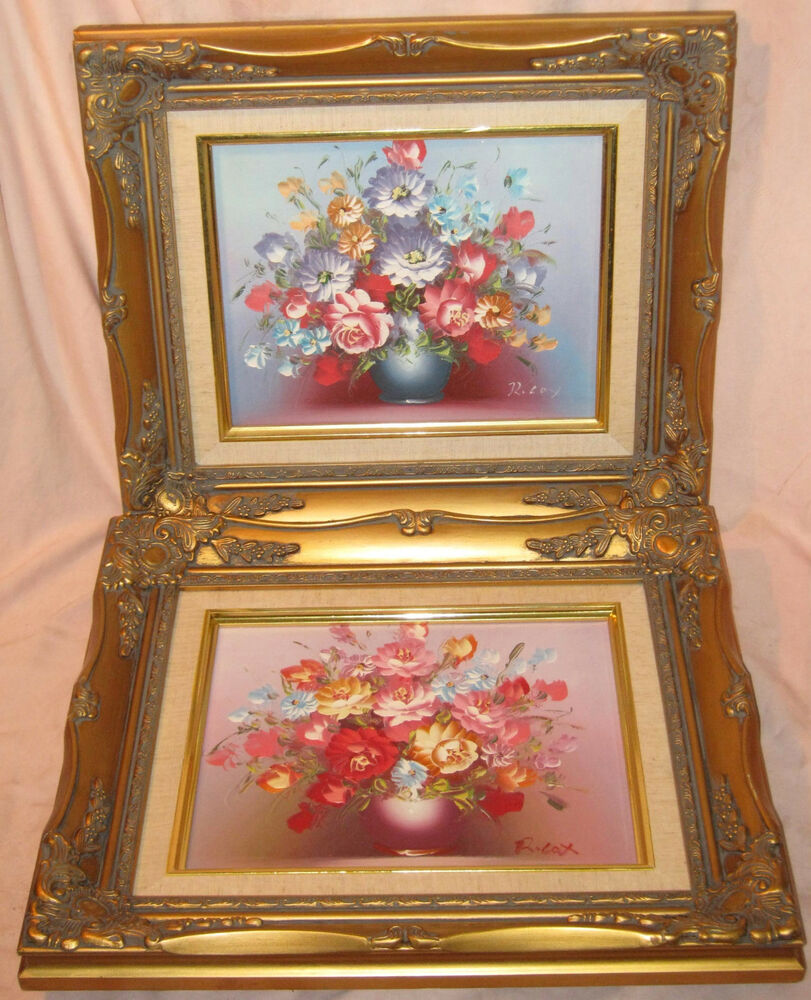 vintage 2 original robert cox oil on canvas floral painting flowers gold frames ebay. Black Bedroom Furniture Sets. Home Design Ideas