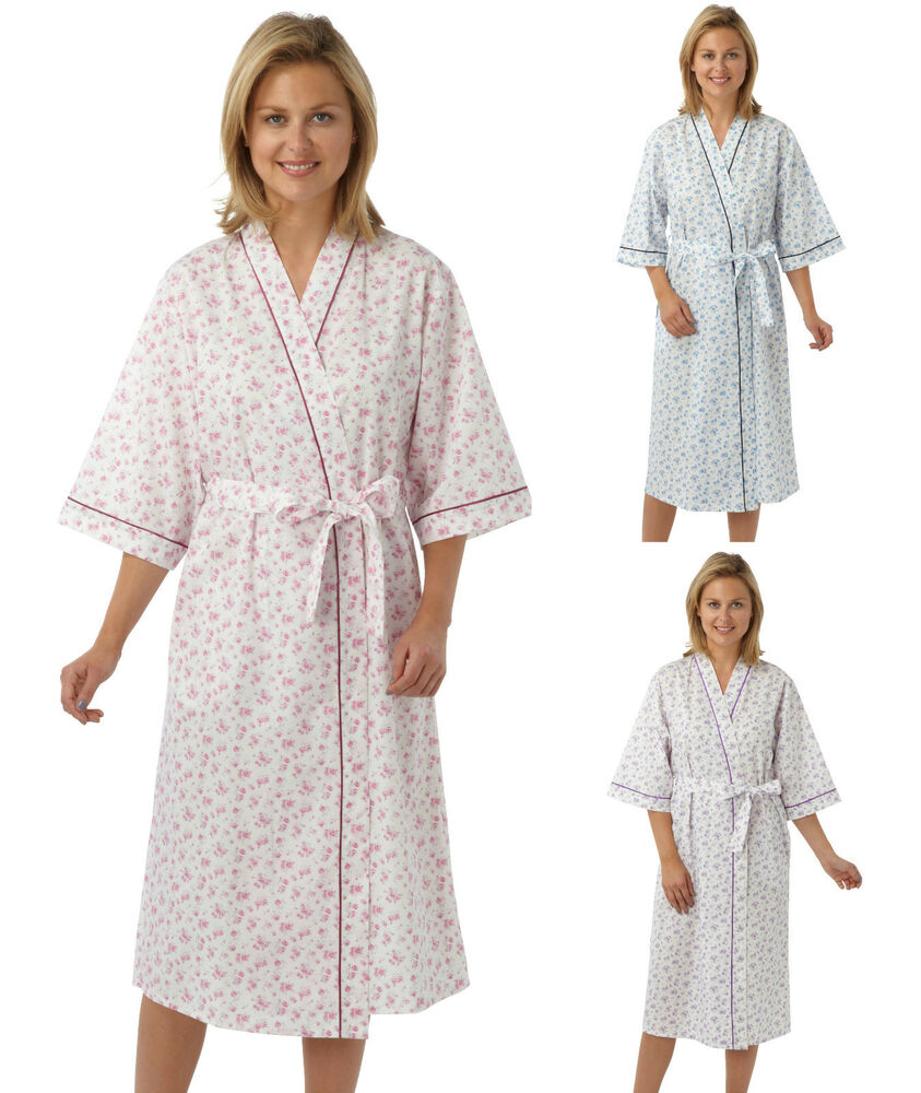 ladies floral kimono wrap cotton dressing gown robe. Black Bedroom Furniture Sets. Home Design Ideas