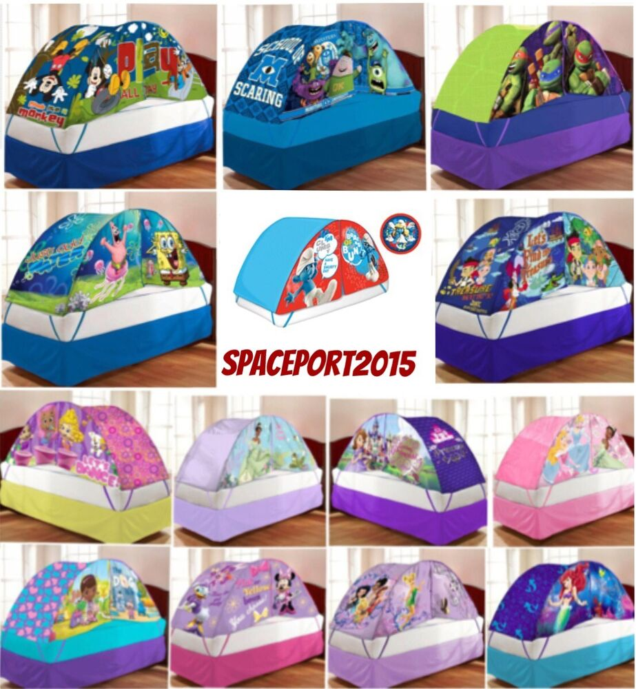Kids Twin Single Size Bed Tent Push Night Light Lighted