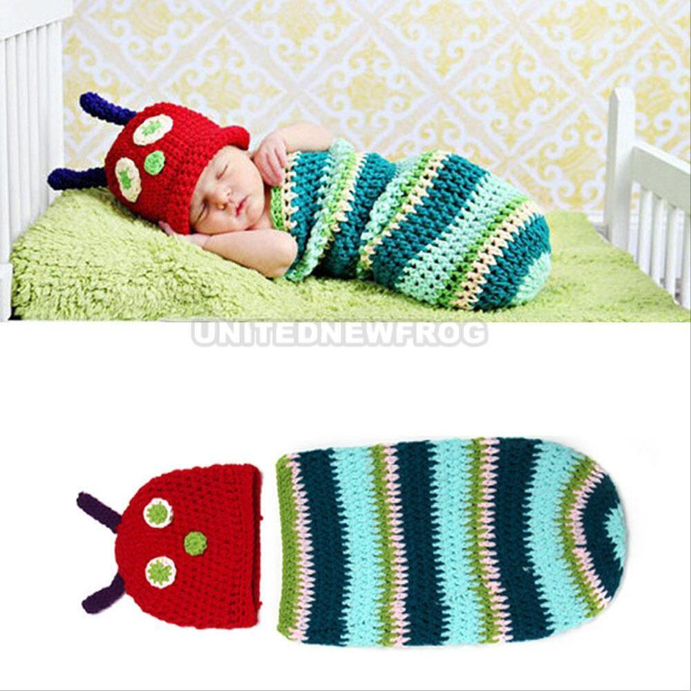 Crochet Caterpillar Baby Outfit Pattern : Newborn Baby Crochet Knit Caterpillar Costume Photo ...